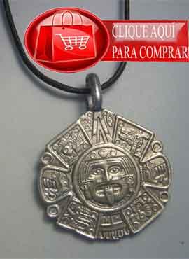 Tonatiuh dios sol azteca, colgante plata