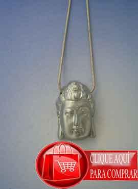 cabeza Buda plata. Siddharta amuleto