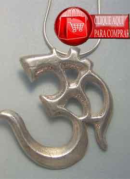 Om mantra de plata, amuleto colgante budismo tibetano