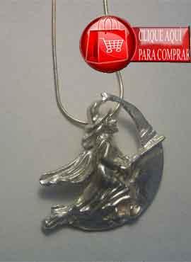colgante bruja luna amuleto de plata