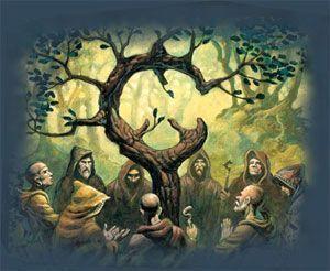 árbol celta de la vida con los druídas