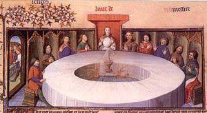 el Santo Grial, presidiendo la mesa de los caballeros