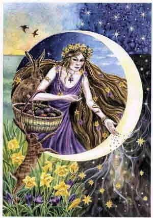 Ostara fiesta celta con Eostre la diosa y las liebres