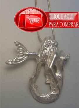 sirena de plata, colgante amuleto