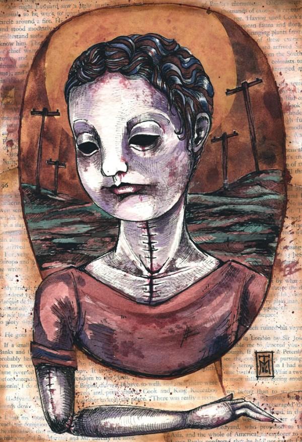 Roman Corpse - Mixed Media Dark Art