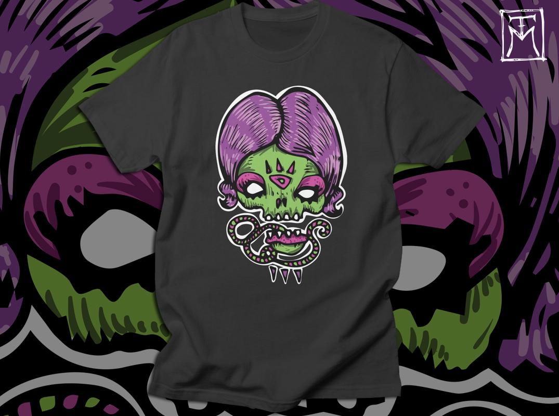 Purple Lady Skull - Tshirt Illustration