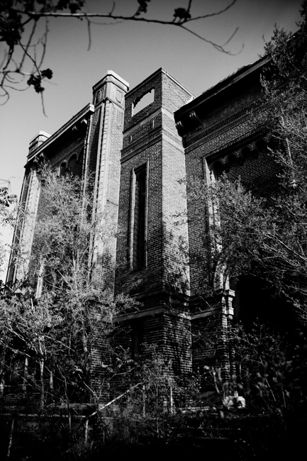 Abandoned Public Schools Memorial Auditorium in Gary, Indiana - Black and White Urbex Photography
