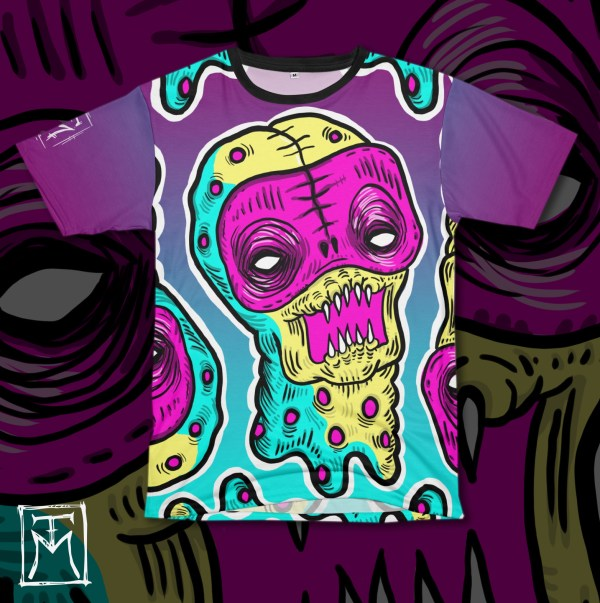 Neon Demon Heady horror illustration tshirt mockup