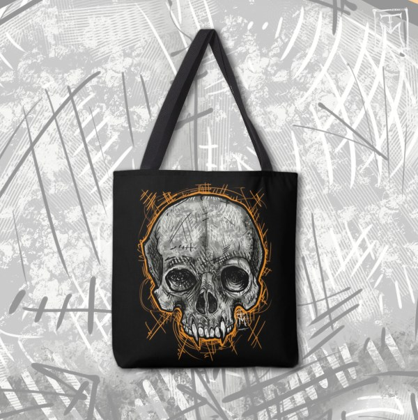 Tote Bag with Vampire Skull Design