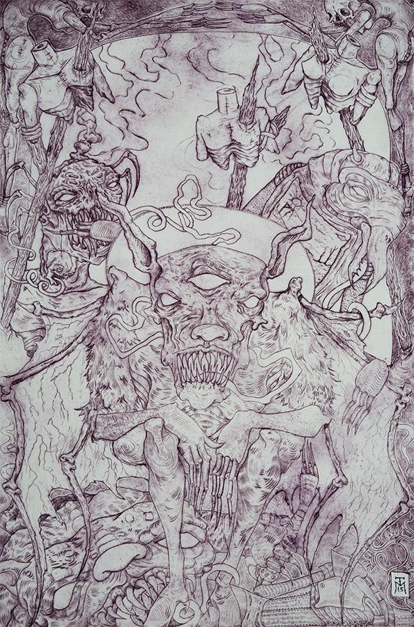 """""""Bat Demon"""" Dark Art Etching"""