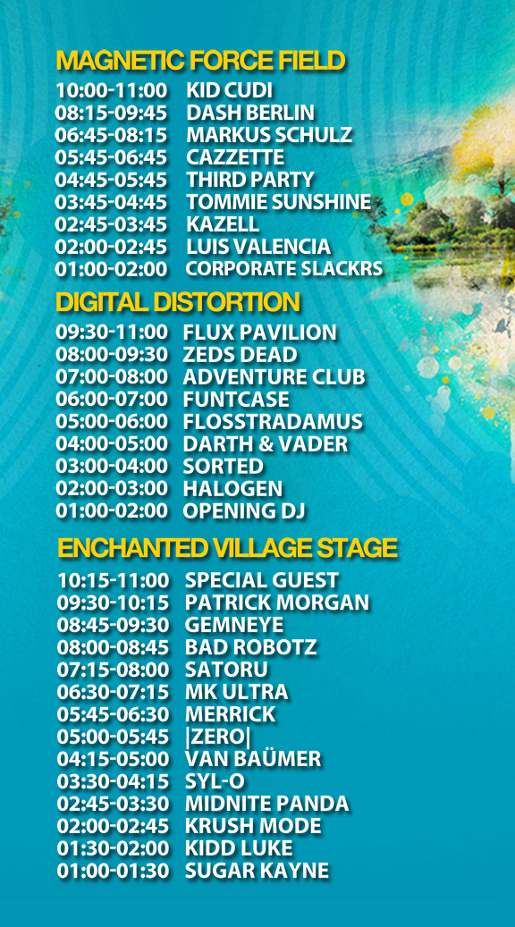 Magnetic Music Festival Schedule Line Up