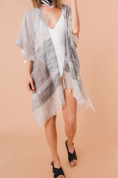 KW Fashion Striped Gauzy Kimono in Gray or Pink