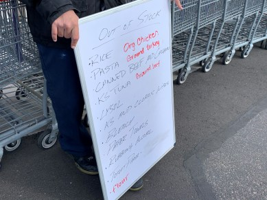 Sunday, March 29, 2020 - Out of stock. Shopping at Costco. Phoenix, AZ. By David Covington.