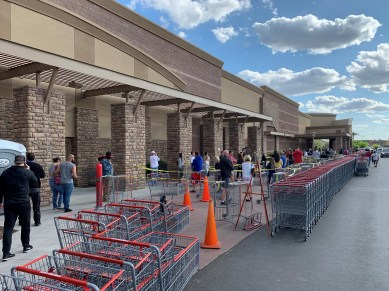 Sunday, March 29, 2020 - Shopping at Costco. Shoppers were instructed to stand 10 feet apart. Phoenix, AZ. By David Covington.