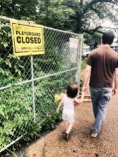 "Sunday, September 13, 2020 – New Orleans closed playground sign defaced with ""coronavirus is a lie."" New Orleans, LA. Tory Taylor."
