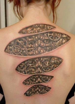 tatuagem-3d-feminina-nas-costas - engrenagens