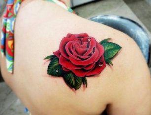 tatuagem 3d rosa vermelha