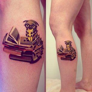 tatuagem feminina 3d livros