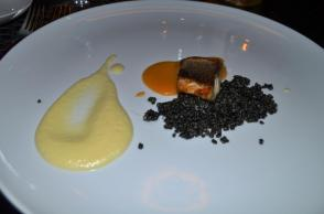 Sea Bass with black quinoa and fennel puree