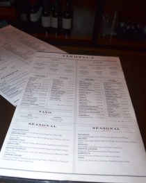 Wine List at Vinoteca