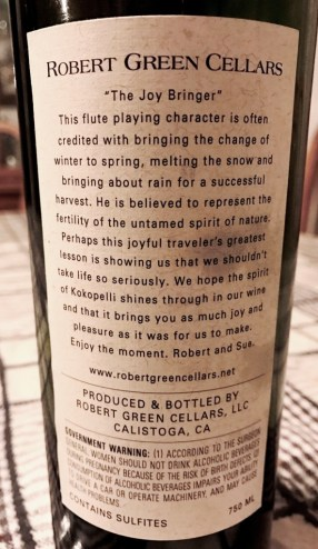 Robert Green Cellars Merlot Napa back label