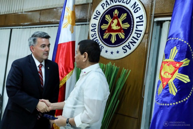 Republican Senator Cory Gardner wooing Duterte at Malacanag after ao,000 murders and Martial Law declaration and order to rape Muslim Women