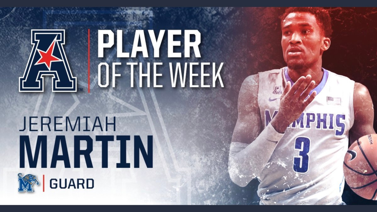 Memphis Tigers Point Guard Jeremiah Martin is named American Conference Player of the Week