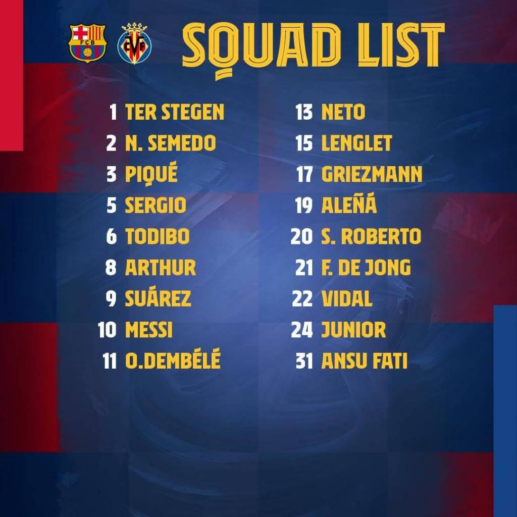 FC Barcelona vs Villarreal CF - Squad List- LaLiga 19-20