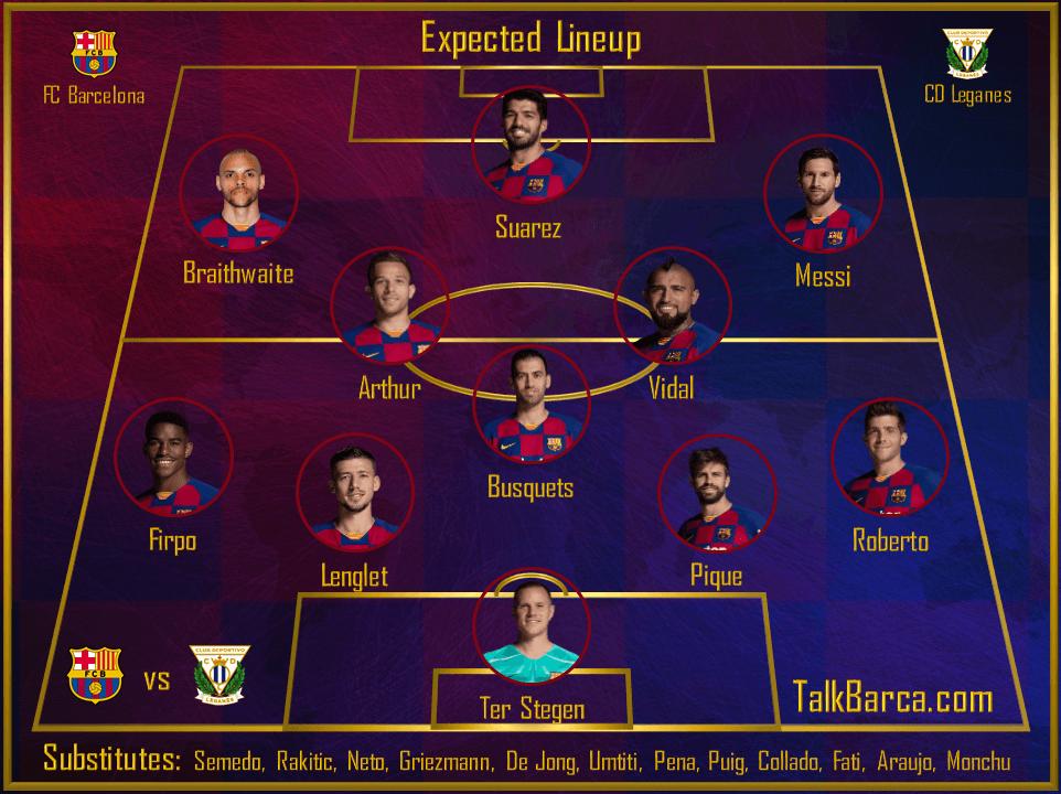 FC Barcelona vs CD Leganes - Expected Lineup - La Liga 2019-20
