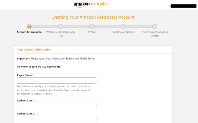Start filling your details on amazon