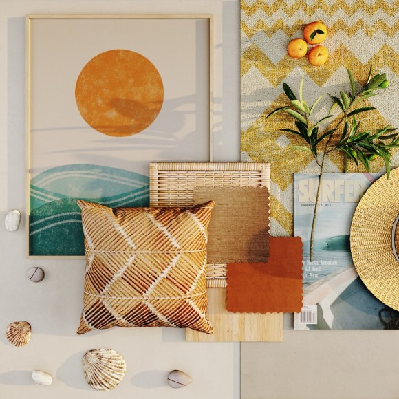 coast inspires contract products mood board, Cliffs on the Portuguese coast inspire this mood board
