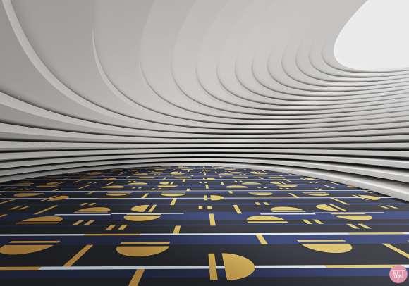 geometric linear carpet, Little blue door inspires this geometric linear carpet pattern