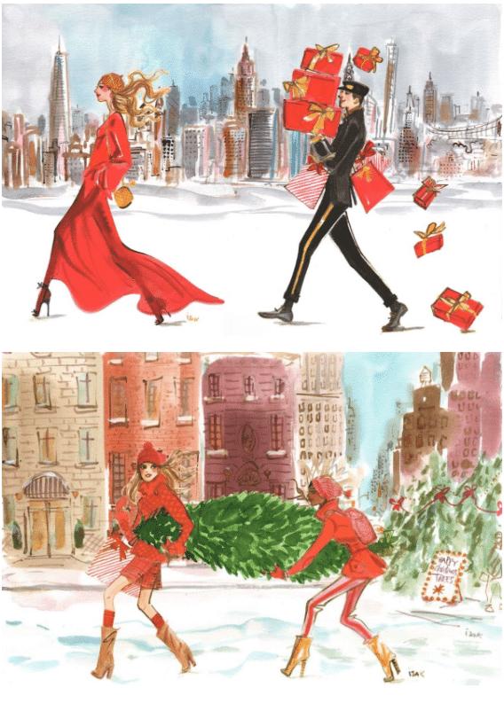 Holiday-themed carpet, Holiday-themed carpet inspired by Izak Zenou's   illustrations for Estee Lauder