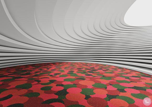 christmas carpet, Layered Christmas balls create vibrant custom carpet