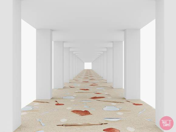 carpet print, Jacquemus SS21 collection inspires this cooking-themed carpet print
