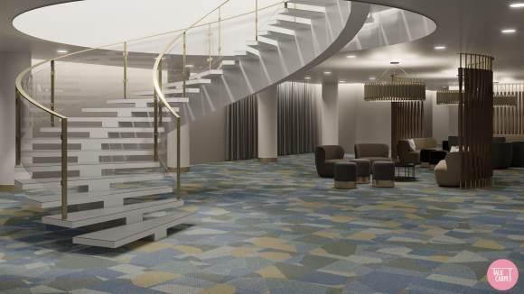 geometric pattern carpet, Geometric pattern carpet draws inspiration from Przemek Pyszczek's art