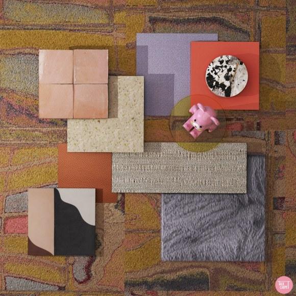 Tom Dixon carpet, Tom Dixon carpet recolored to match colorful Tim Meakins art