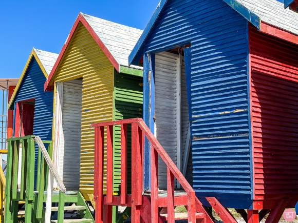 linear carpet pattern, Colorful huts at Muizenberg beach influence an 80s linear carpet pattern