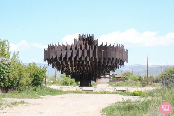 metal church, An abandoned metal church and iron fountain in Armenia's countryside