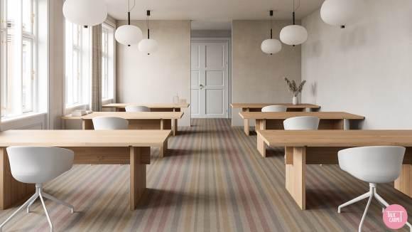 striped carpet, Modern striped carpet taking cues from Soviet housing blocks