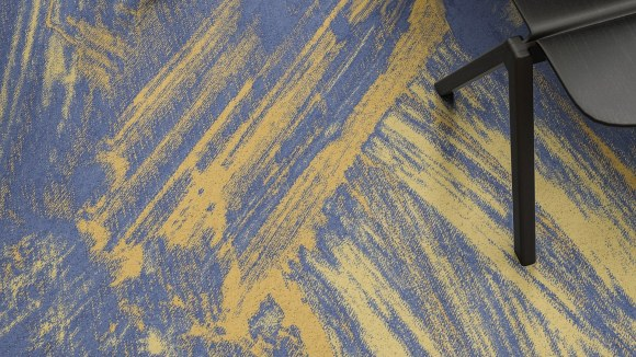 washed carpet, Washed carpet with faded blue lines as spotted at a local Egyptian home