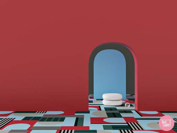 geometric carpet, Geometric carpet based on art by Daniel Buren in Bilbao