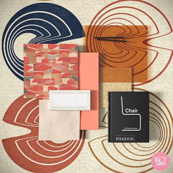 retro carpet, Retro carpet and palette based on Gae Aulenti's 60's chair for Poltronova