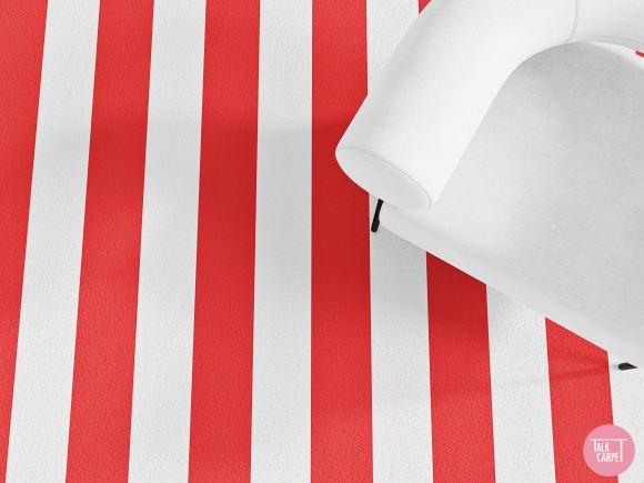 Red and white striped carpet, Viva Italia! Red and white striped carpet exudes Italian style