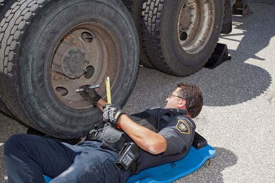 Inspecting a Semi Truck