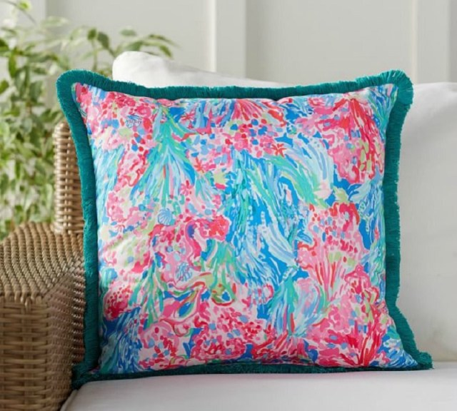 Colorfully Printed Outdoor Fringe Pillow