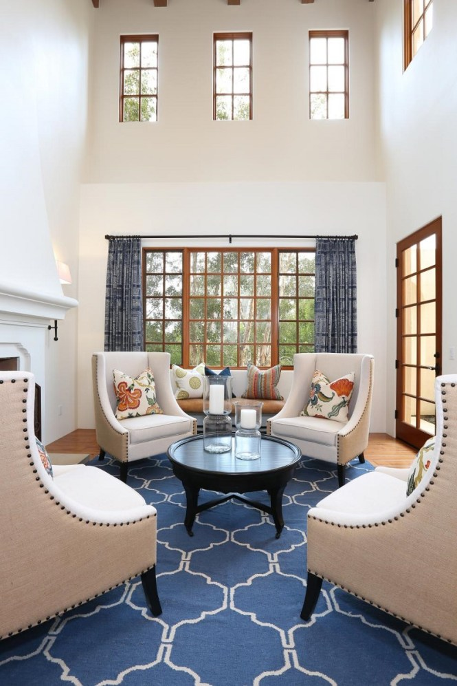 Living Room With Blue Rug