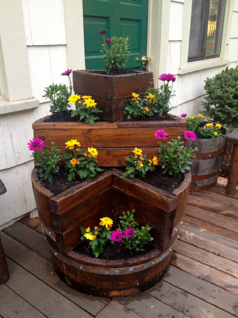 Multi Tiered Barrel Planter