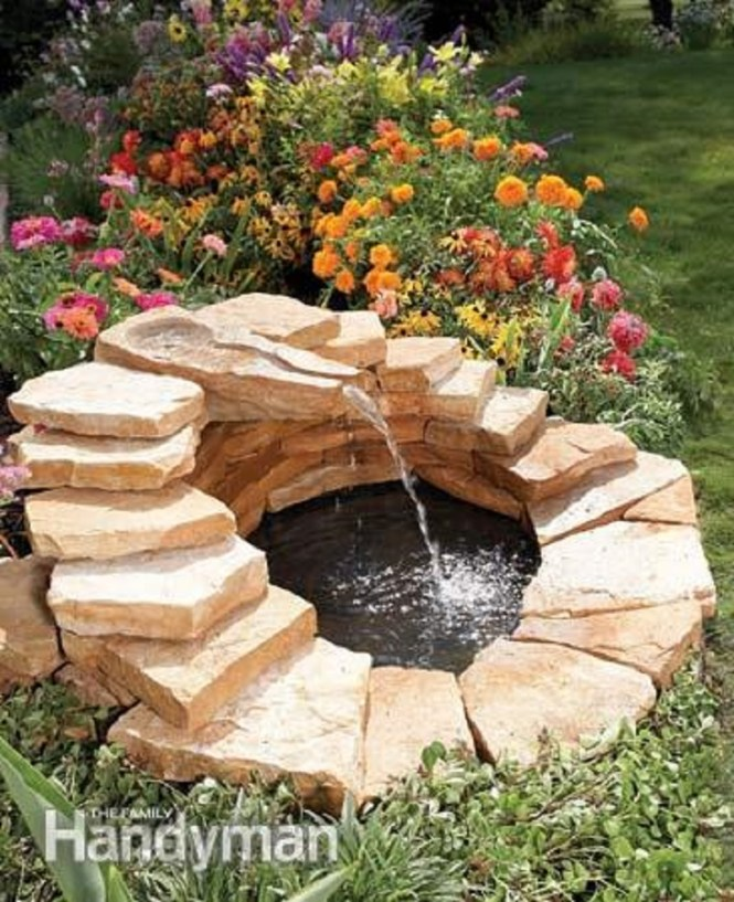 Oasis With Concrete Fountain