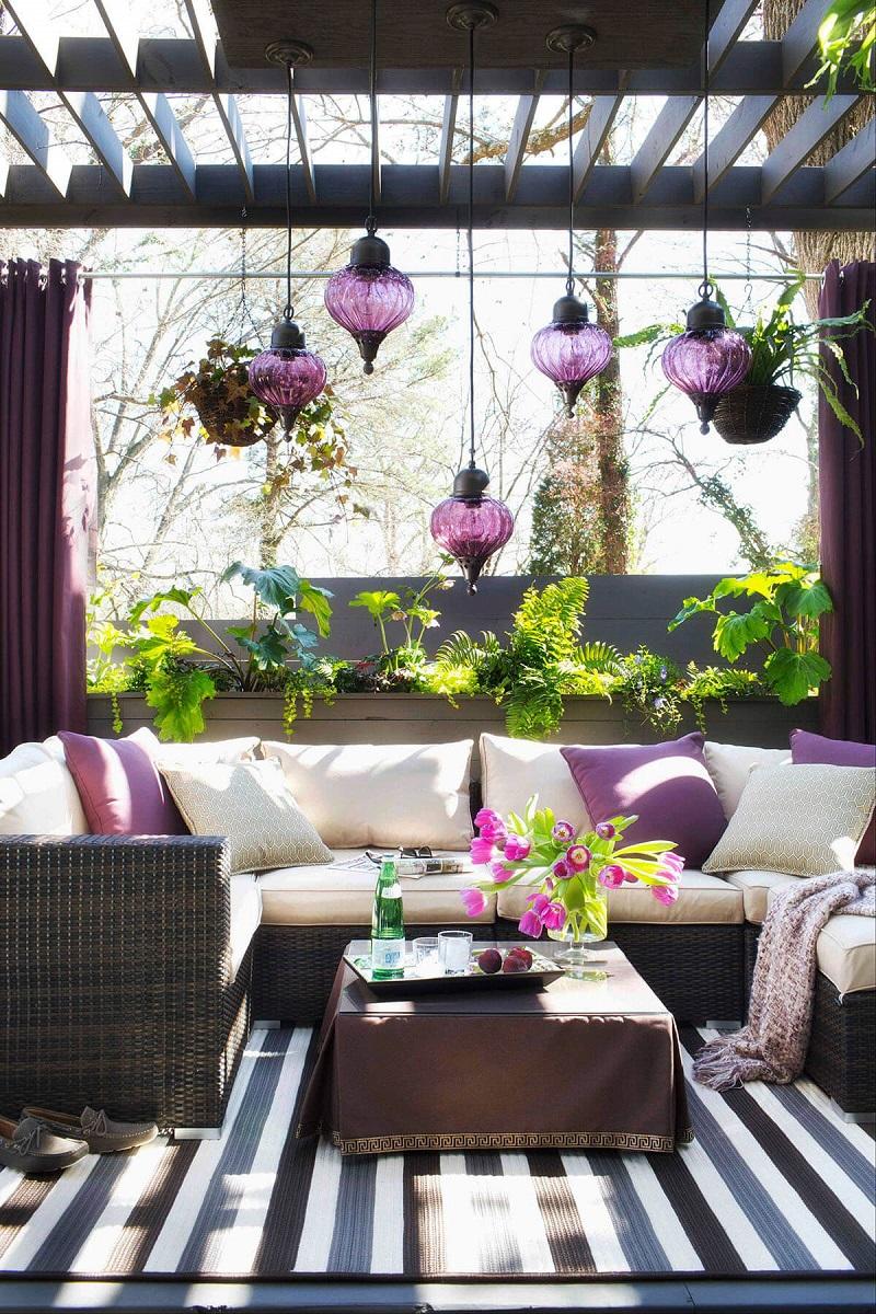 Pretty Purple Hanging Moroccan Lanterns